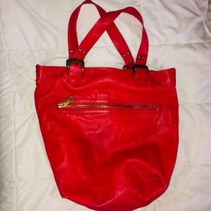 Marc Jacobs Red Leather Hobo Bag Purse Tote